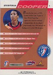 1997 Pinnacle Inside WNBA Court Collection #2 Cynthia Cooper back image