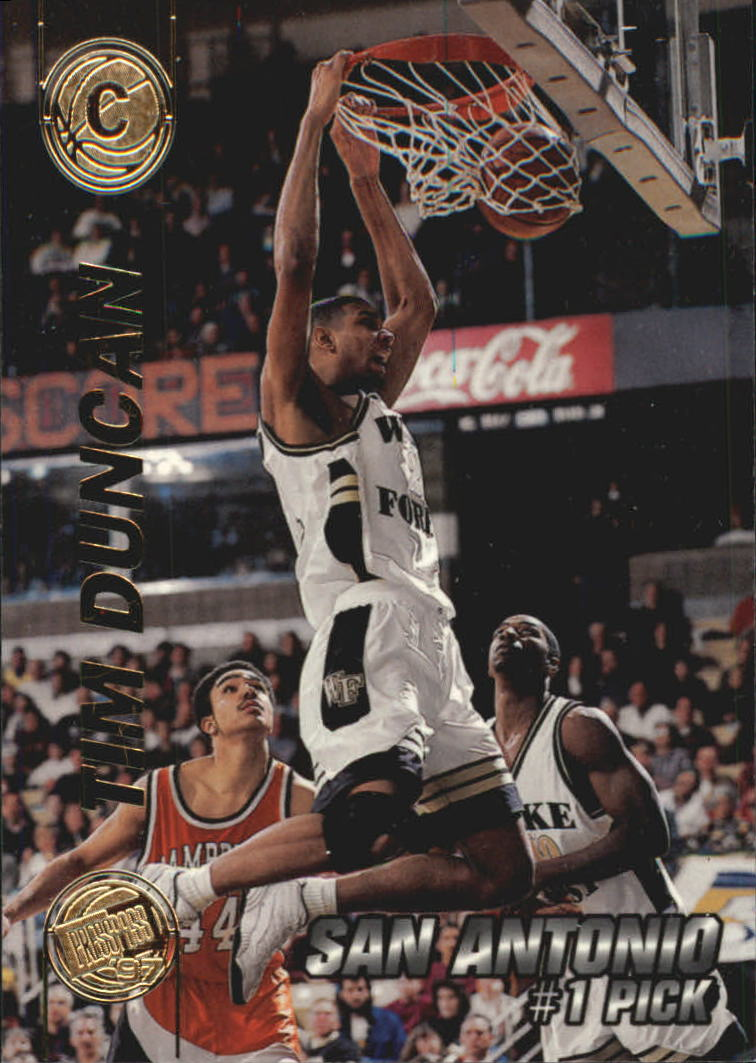 1997 Press Pass Double Threat #1 Tim Duncan