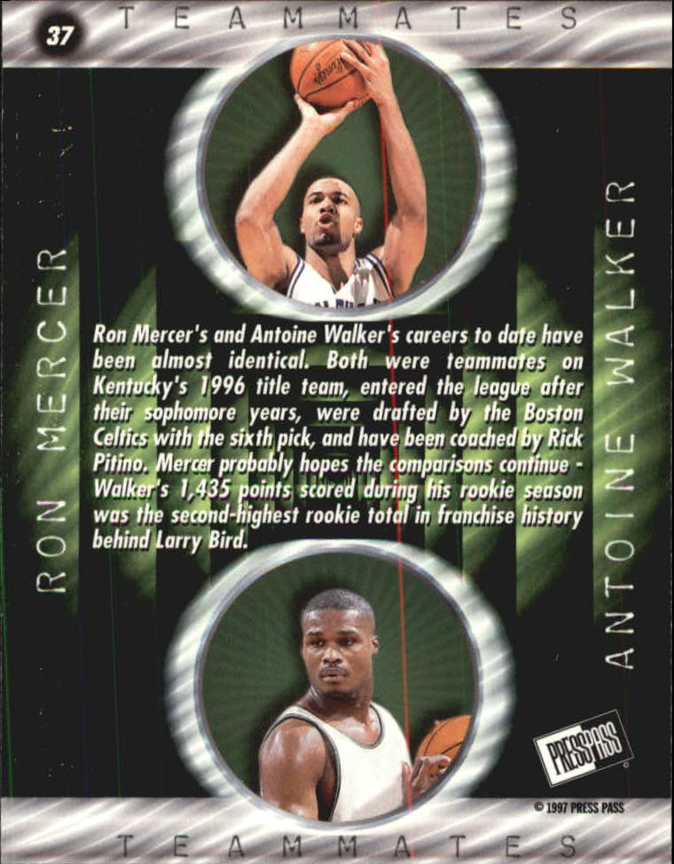 1997 Press Pass Double Threat #37 Ray Mercer/Antoine Walker back image
