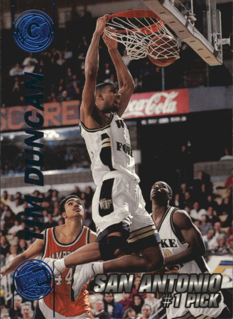 1997 Press Pass Double Threat Blue #1 Tim Duncan