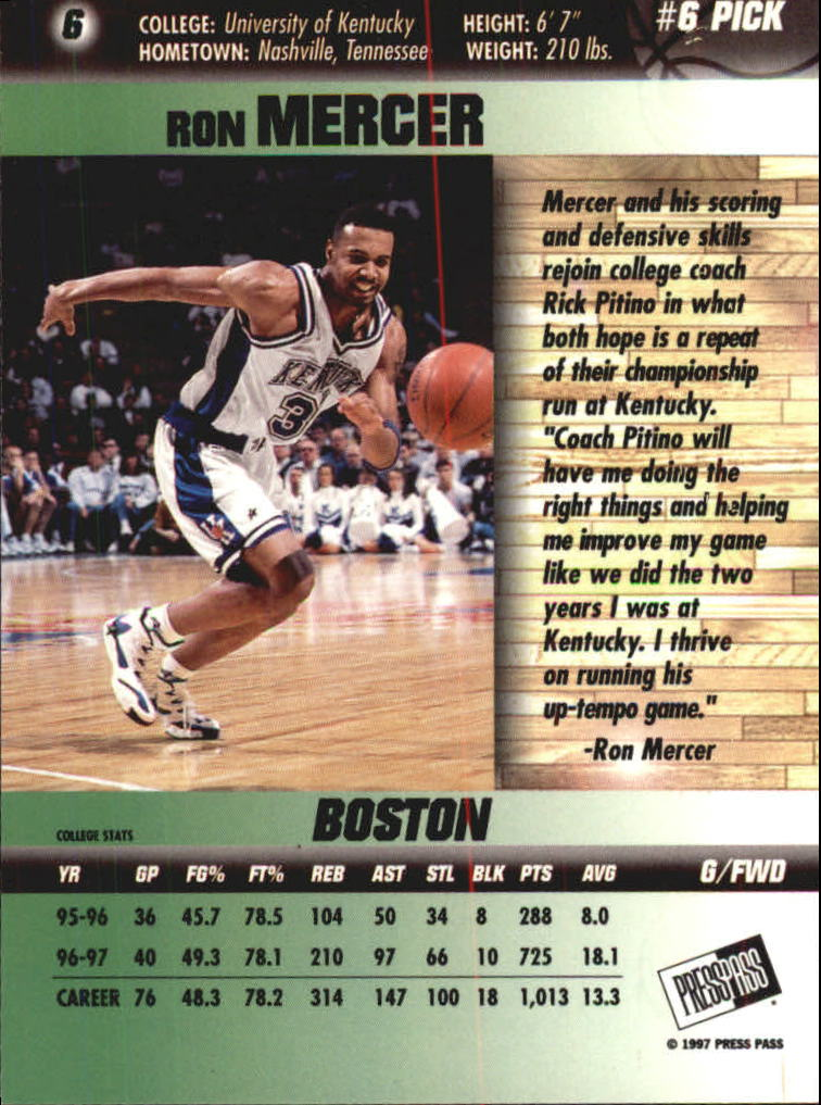1997 Press Pass Double Threat Silver #6 Ron Mercer back image