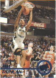 1997 Press Pass Blue Torquers #1 Tim Duncan