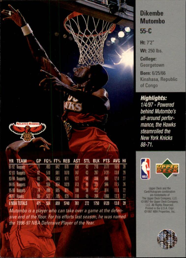 1997-98 Upper Deck #4 Dikembe Mutombo back image