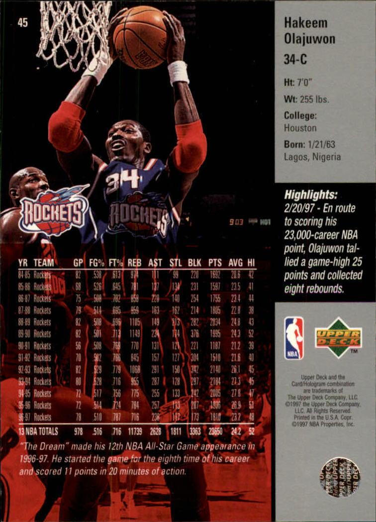 1997-98 Upper Deck #45 Hakeem Olajuwon back image