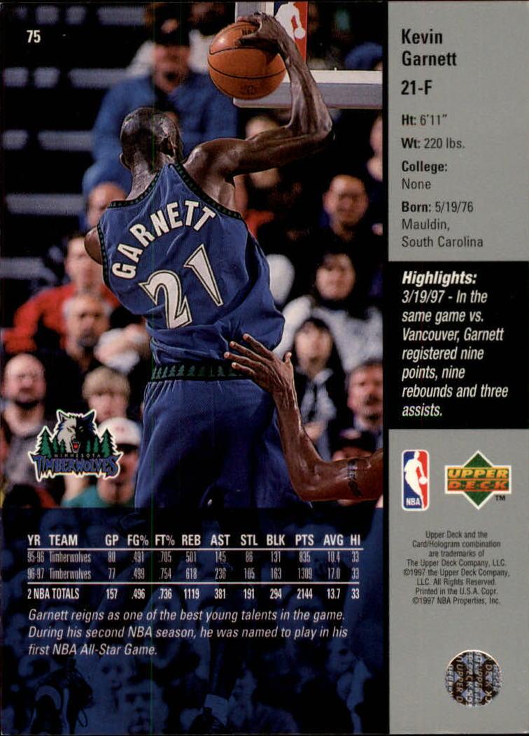 1997-98 Upper Deck #75 Kevin Garnett back image