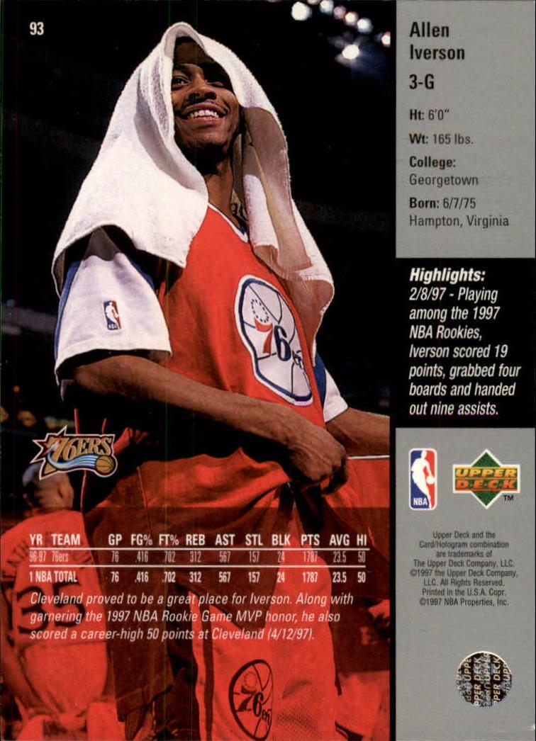 1997-98 Upper Deck #93 Allen Iverson back image