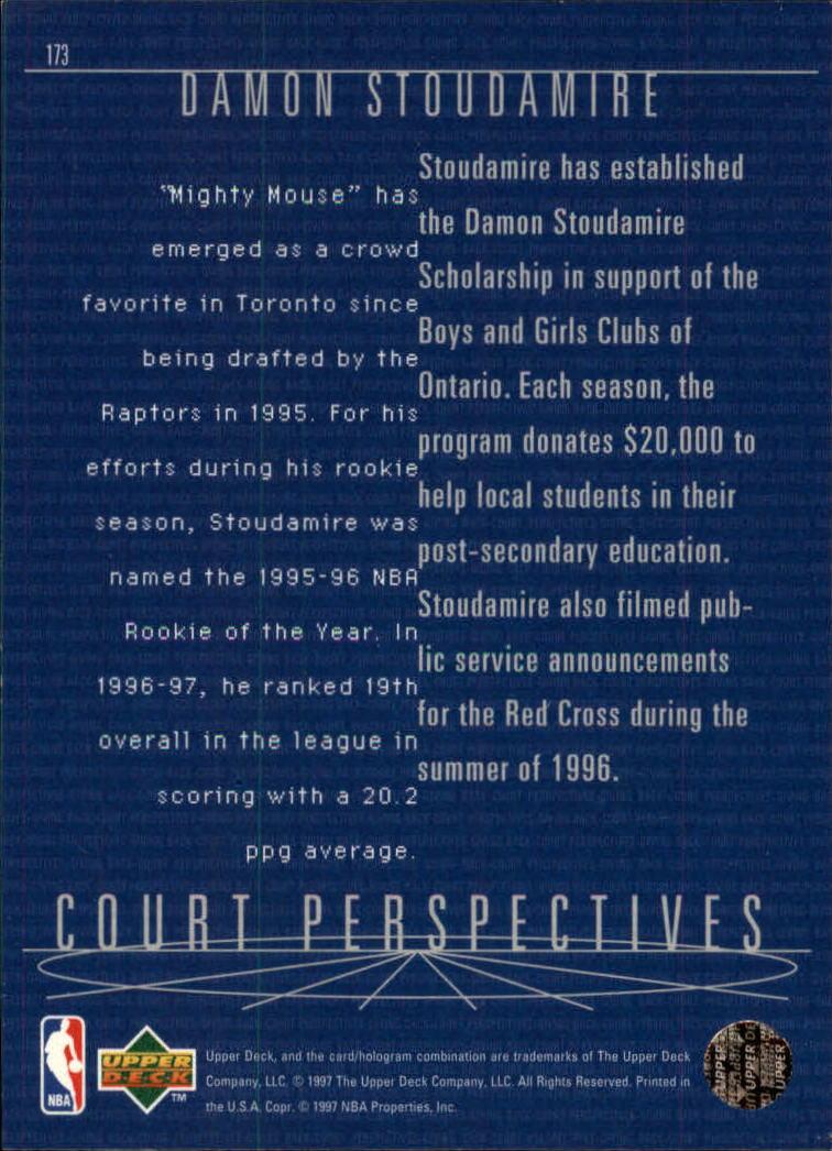 1997-98 Upper Deck #173 Damon Stoudamire CP back image