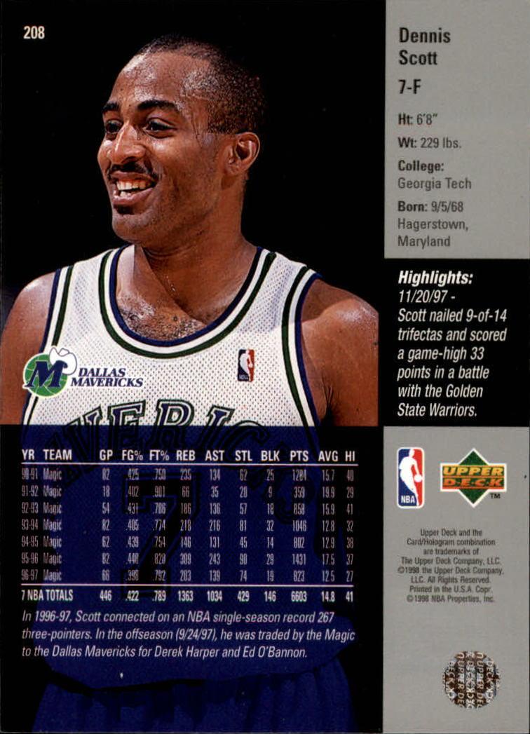 1997-98 Upper Deck #208 Dennis Scott back image
