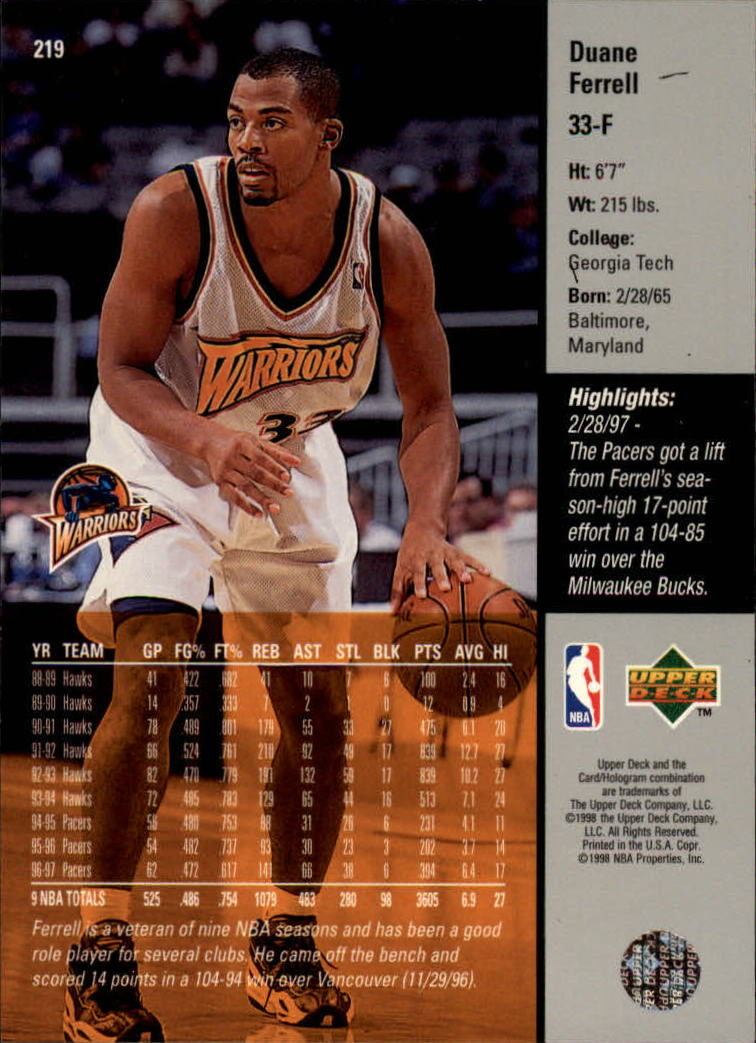 1997-98 Upper Deck #219 Duane Ferrell back image