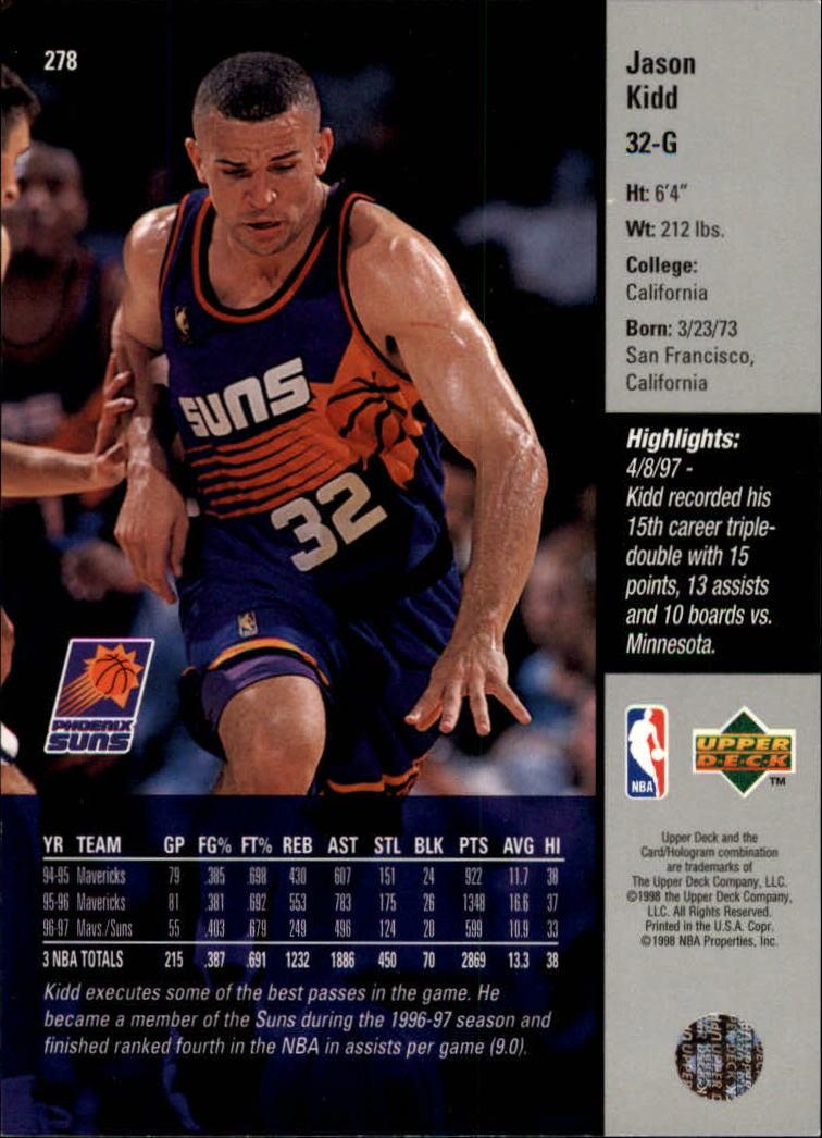 1997-98 Upper Deck #278 Jason Kidd back image