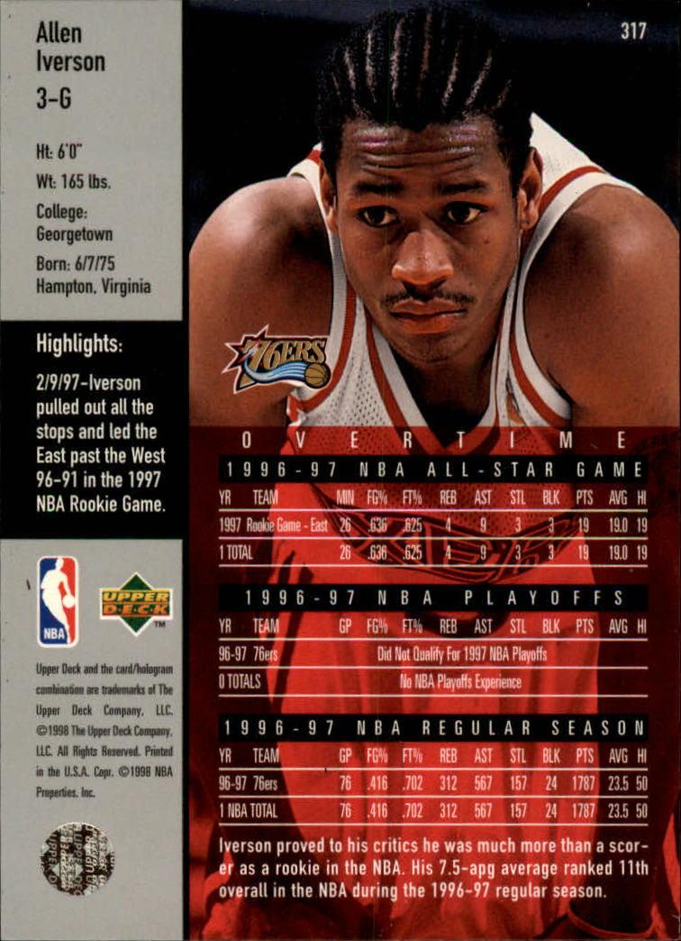 1997-98 Upper Deck #317 Allen Iverson OT back image