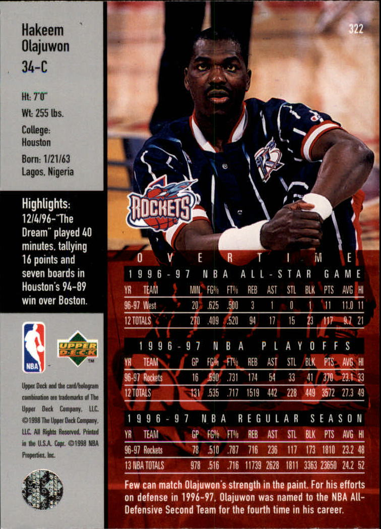 1997-98 Upper Deck #322 Hakeem Olajuwon OT back image