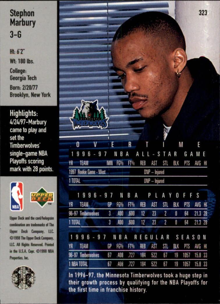 1997-98 Upper Deck #323 Stephon Marbury OT back image