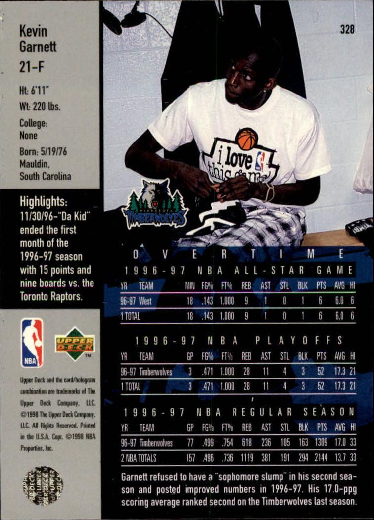 1997-98 Upper Deck #328 Kevin Garnett OT back image