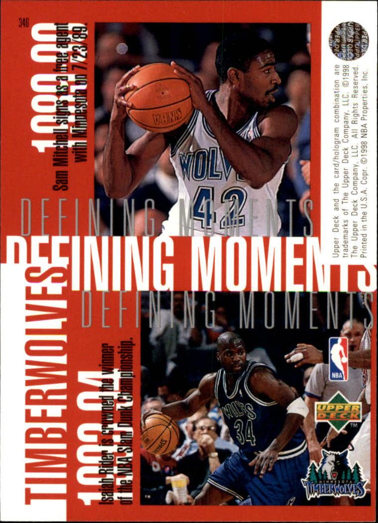 1997-98 Upper Deck #346 Kevin Garnett/Stephon Marbury/Tom Gugliotta/Sam Mitchell/Isaiah Rider back image
