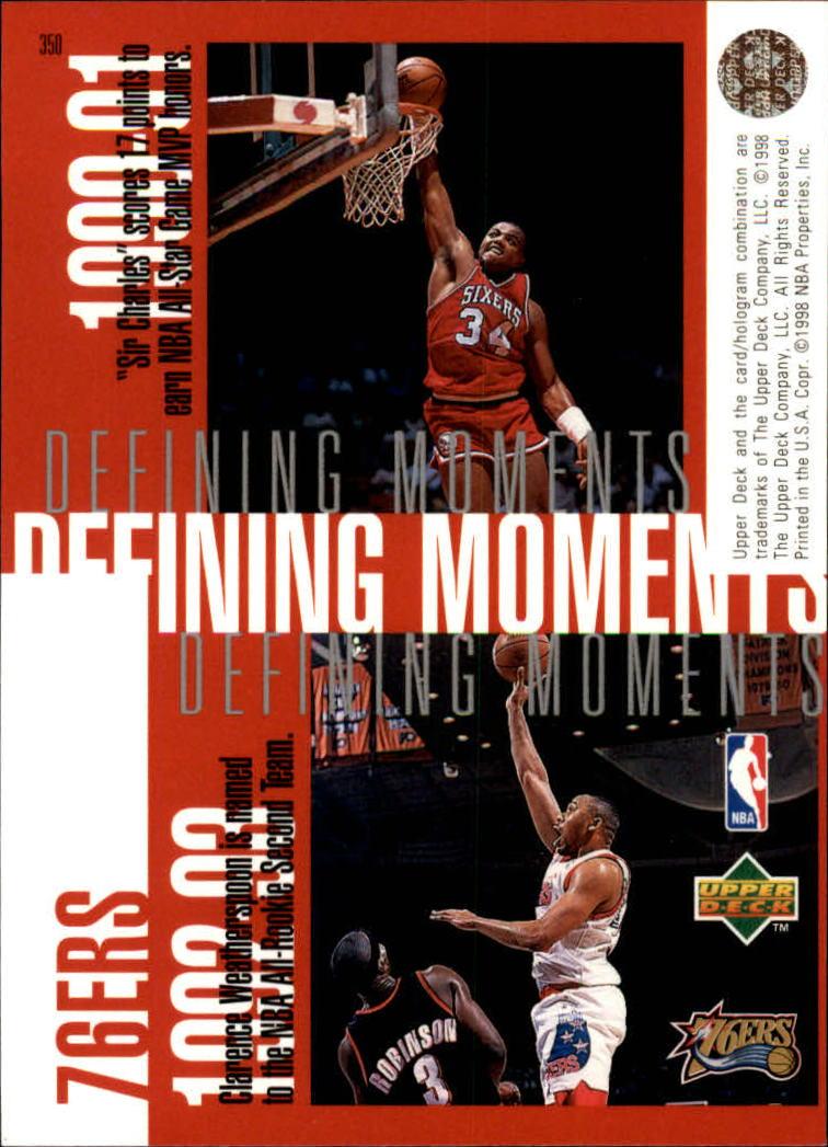 1997-98 Upper Deck #350 Allen Iverson/Jerry Stackhouse/Charles Barkley/Clarence Weatherspoon back image