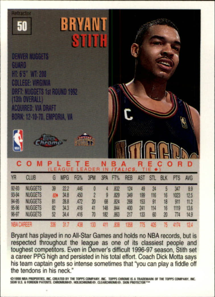 1997-98 Topps Chrome Refractors #50 Bryant Stith back image