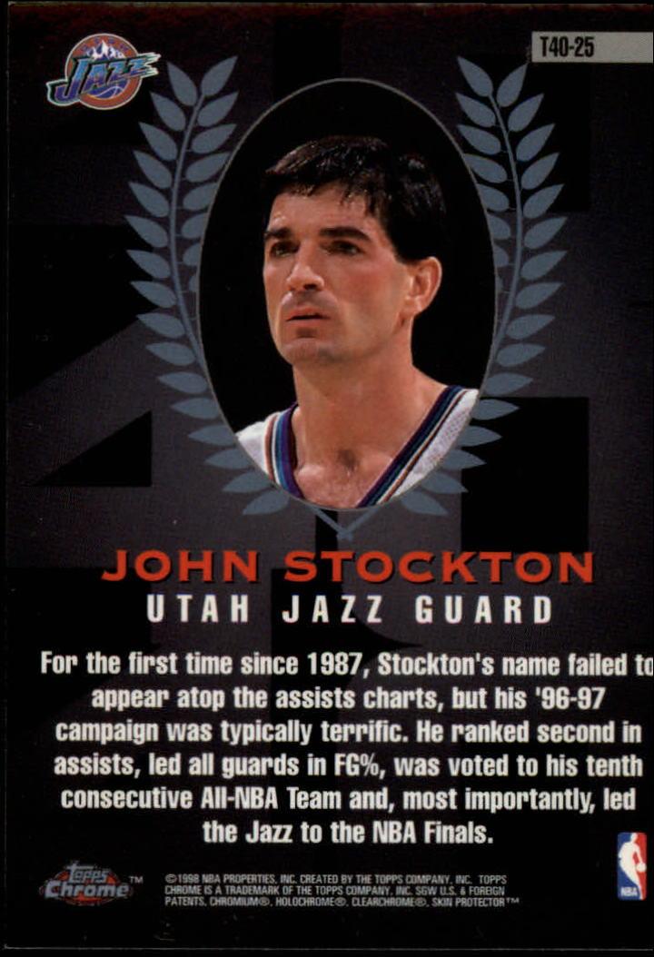 1997-98 Topps Chrome Topps 40 #T25 John Stockton back image