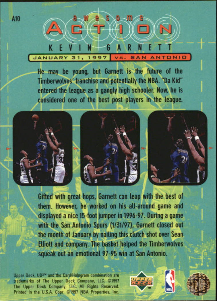 1997-98 UD3 Awesome Action #A10 Kevin Garnett back image