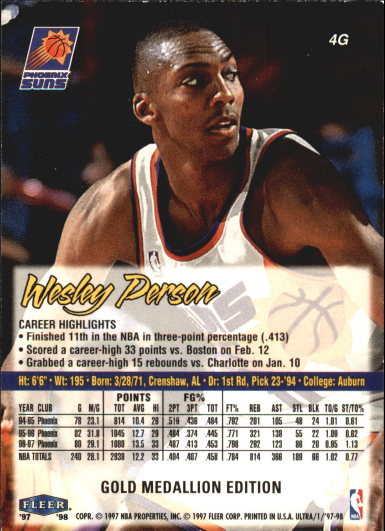 1997-98 Ultra Gold Medallion #4 Wesley Person back image