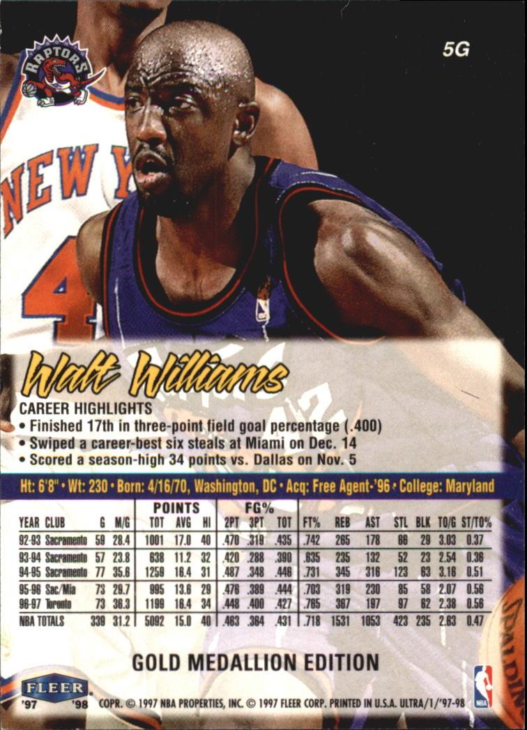 1997-98 Ultra Gold Medallion #5 Walt Williams back image