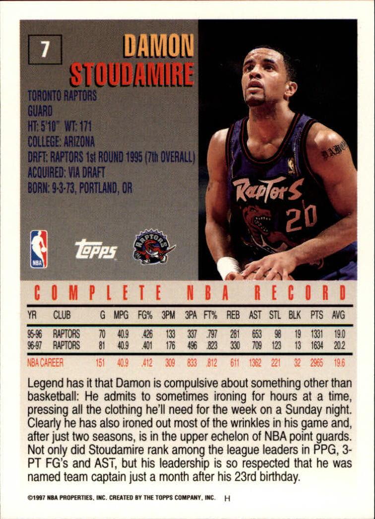 1997-98 Topps #7 Damon Stoudamire back image