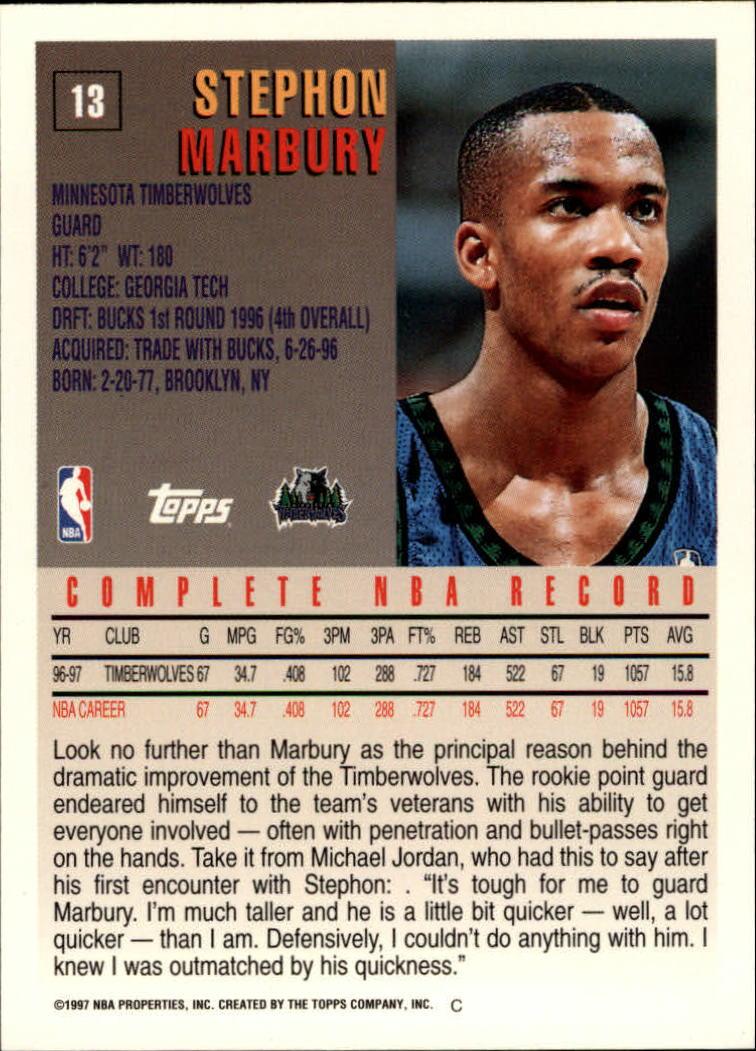 1997-98 Topps #13 Stephon Marbury back image
