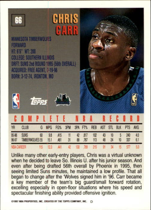1997-98 Topps #66 Chris Carr back image