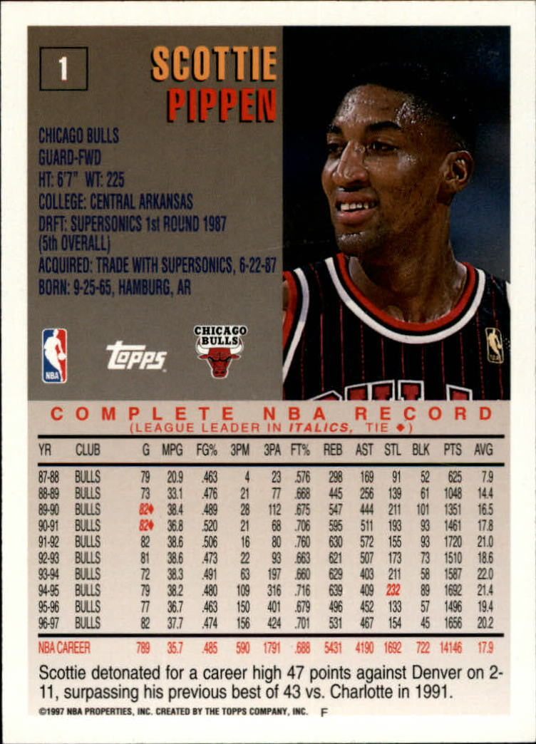 1997-98 Topps Minted in Springfield #1 Scottie Pippen back image