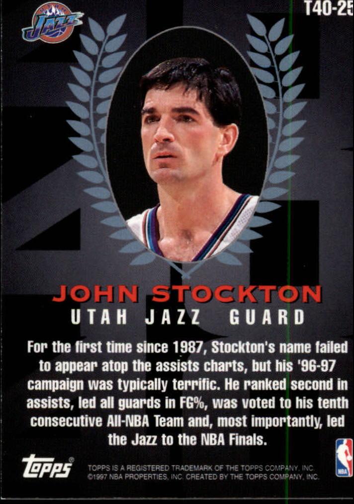 1997-98 Topps Topps 40 #T25 John Stockton back image