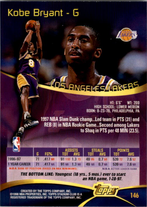 1997-98 Stadium Club #146 Kobe Bryant back image