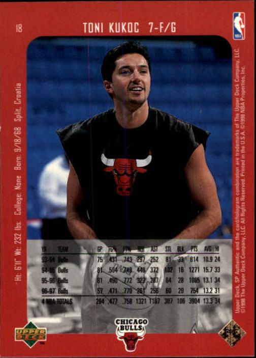 1997-98 SP Authentic #18 Toni Kukoc back image