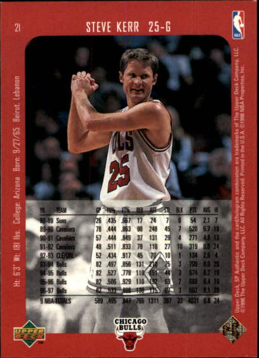 1997-98 SP Authentic #21 Steve Kerr back image