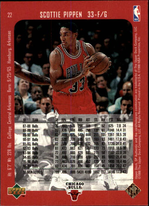 1997-98 SP Authentic #22 Scottie Pippen back image