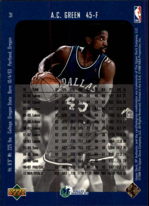 1997-98 SP Authentic #31 A.C. Green back image
