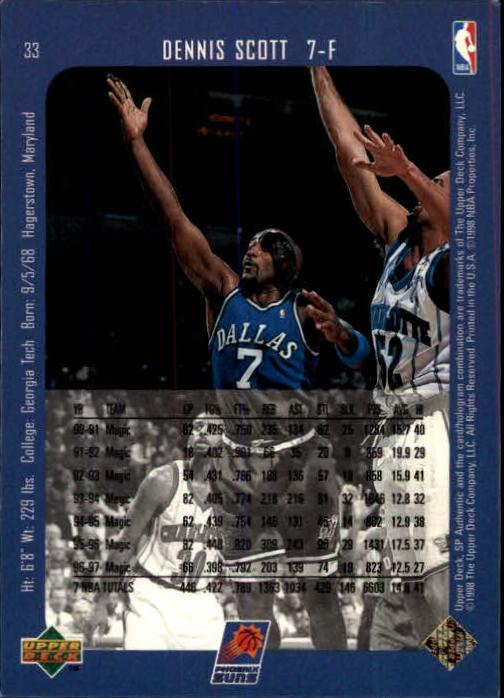 1997-98 SP Authentic #33 Dennis Scott back image