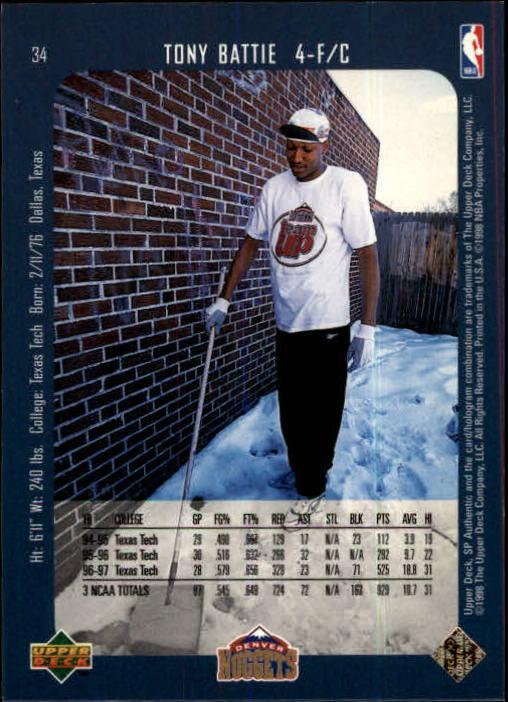 1997-98 SP Authentic #34 Tony Battie RC back image