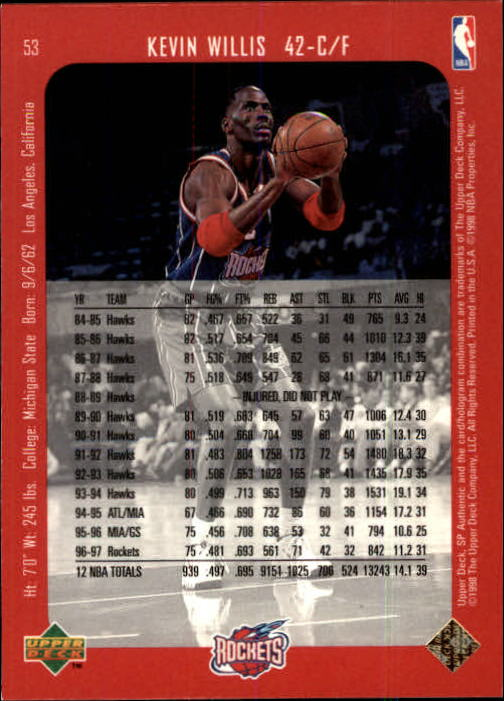 1997-98 SP Authentic #53 Kevin Willis back image