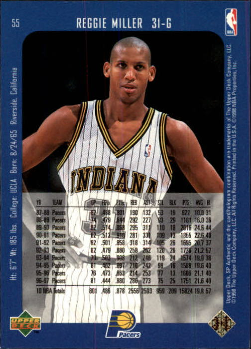 1997-98 SP Authentic #55 Reggie Miller back image