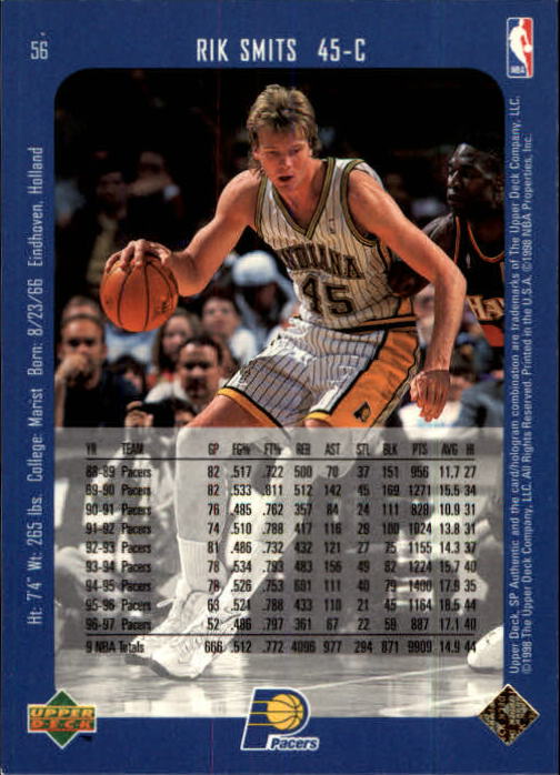 1997-98 SP Authentic #56 Rik Smits back image