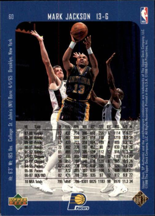 1997-98 SP Authentic #60 Mark Jackson back image