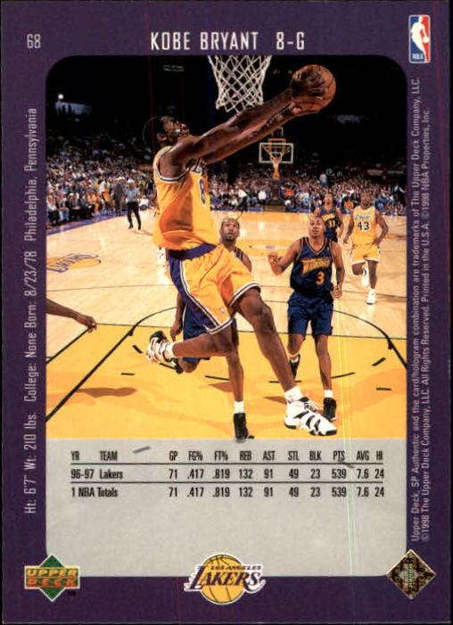 1997-98 SP Authentic #68 Kobe Bryant back image