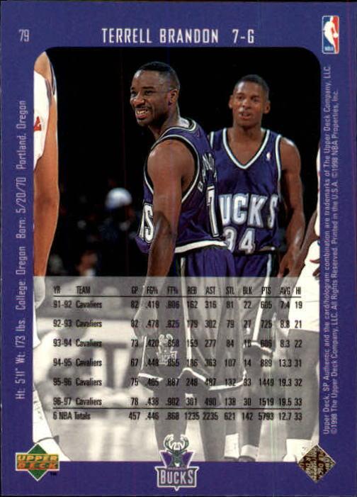 1997-98 SP Authentic #79 Terrell Brandon back image