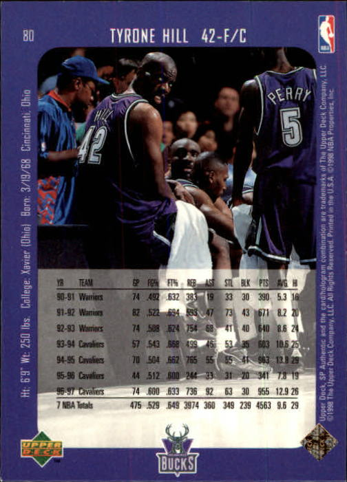 1997-98 SP Authentic #80 Tyrone Hill back image