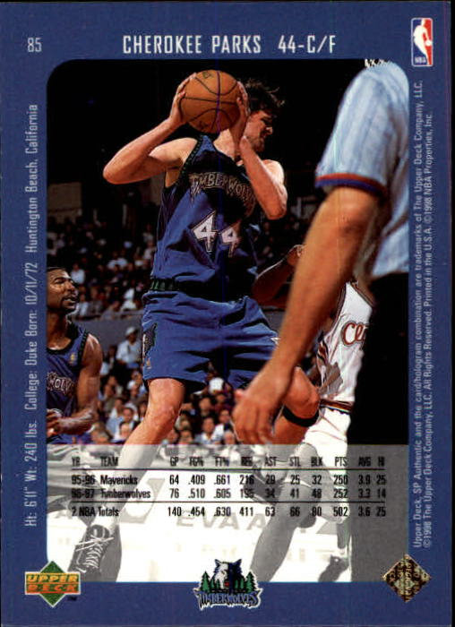 1997-98 SP Authentic #85 Cherokee Parks back image