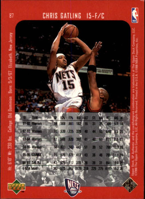1997-98 SP Authentic #87 Chris Gatling back image