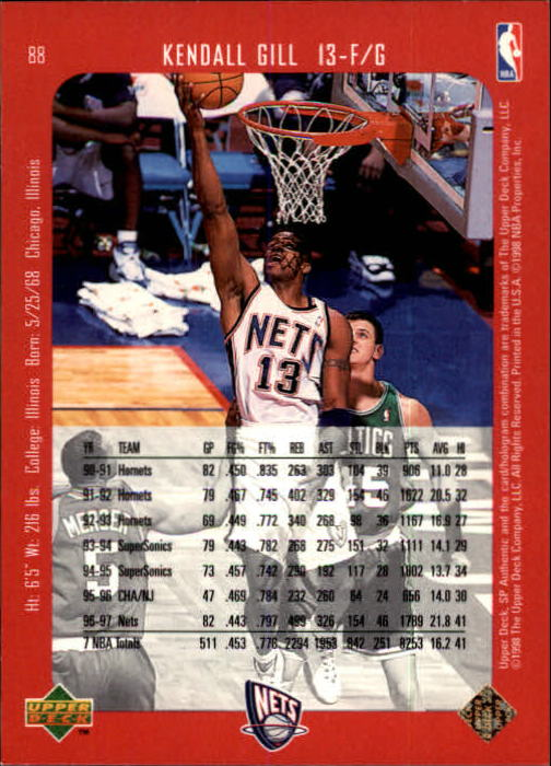1997-98 SP Authentic #88 Kendall Gill back image