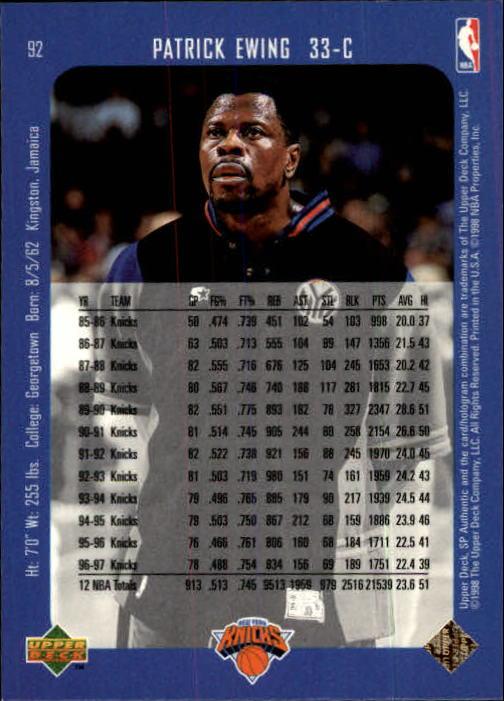 1997-98 SP Authentic #92 Patrick Ewing back image