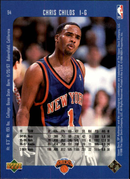 1997-98 SP Authentic #94 Chris Childs back image