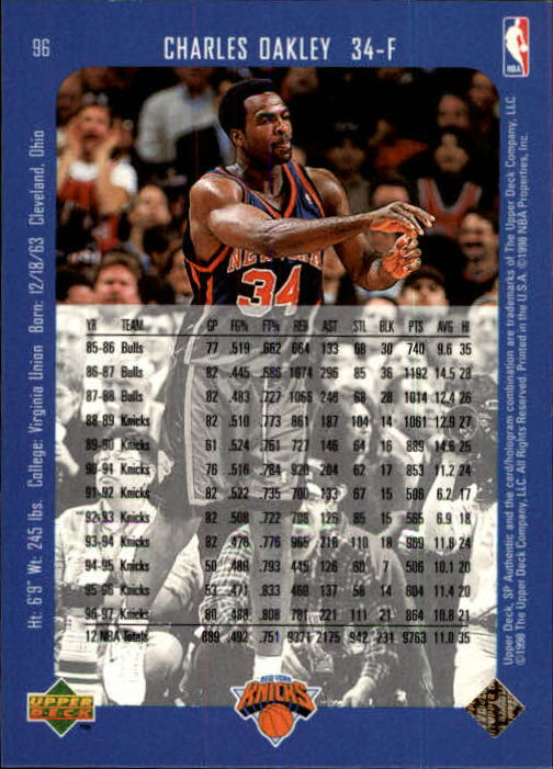 1997-98 SP Authentic #96 Charles Oakley back image